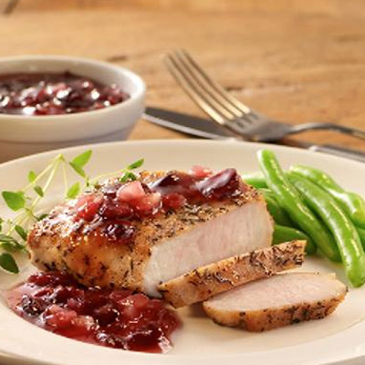 Pork Chops with Blueberry Craisins Sauce