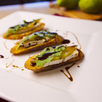 Honey Balsamic Glaze on Poached Pear Brie Crostini