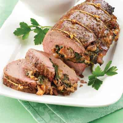 Caramelized Shallot Stuffed Beef Tenderloin
