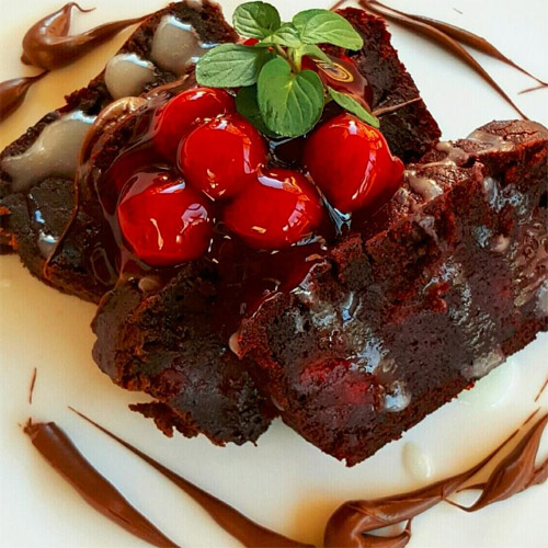 Triple Chocolate and Red Velvet Stuffed Cherry Brownies