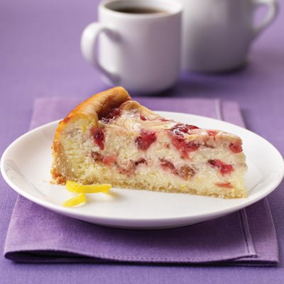 Strawberry Rhubarb Ribboned Cheesecake