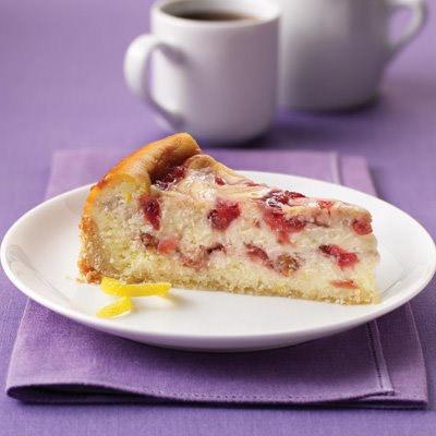 Strawberry Rhubarb Ribboned Cheesecake