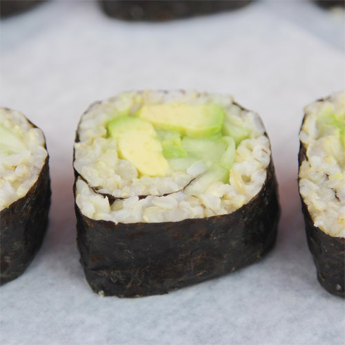 Avocado Cucumber Brown Rice Sushi