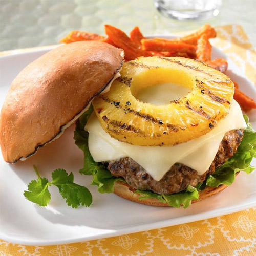 Teriyaki Pork Burgers with Grilled Pineapple