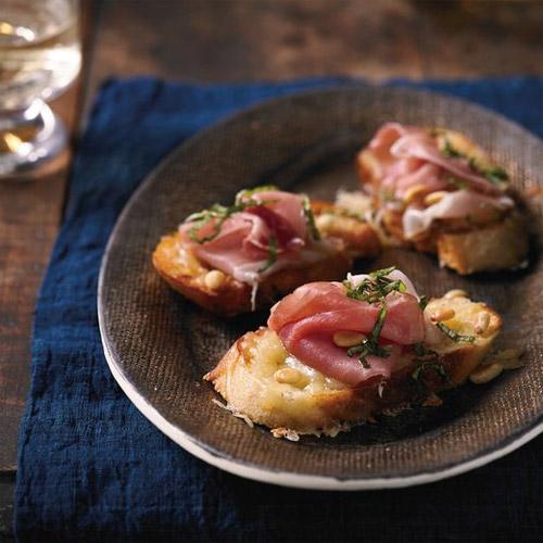 Prosciutto, Cheddar and Pine-Nut Bruschetta