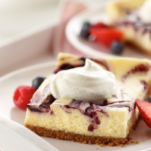Berry Marbled Summer Cheesecake Dessert