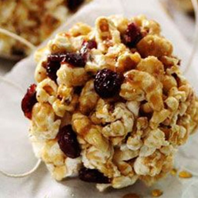 Maple Cranberry Popcorn Balls