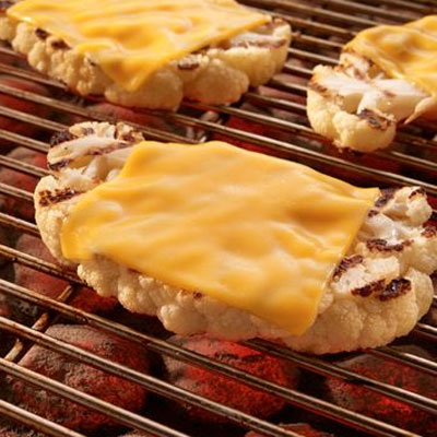 Grilled Cauliflower Steaks with Cheese