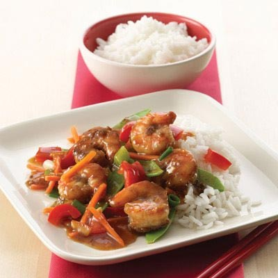 Asian Shrimp with Pea Pods & Bell Peppers