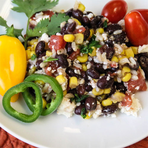 Mexican Brown Rice and Black Bean Salad