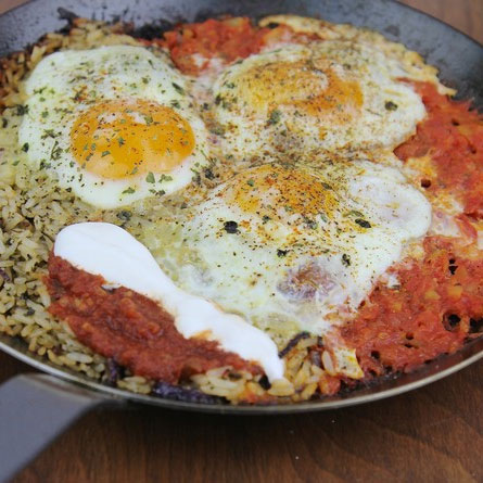 Huevos Rancheros and Rice Breakfast Skillet