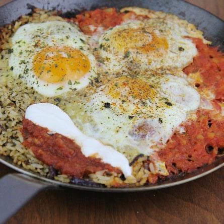 Huevos Rancheros and Rice Breakfast Skillet