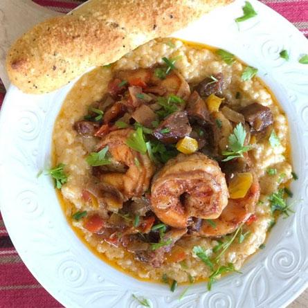 Creole Shrimp and Smoked Gouda Rice Grits