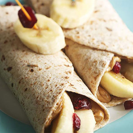 Peanut Butter, Banana and Craisins Dried Cranberries Roll Ups
