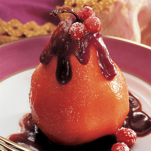 Poached Pears with Chocolate Cranberry Sauce