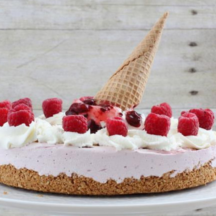 Raspberry Ice Cream Pie with Ice Cream Cone Crust