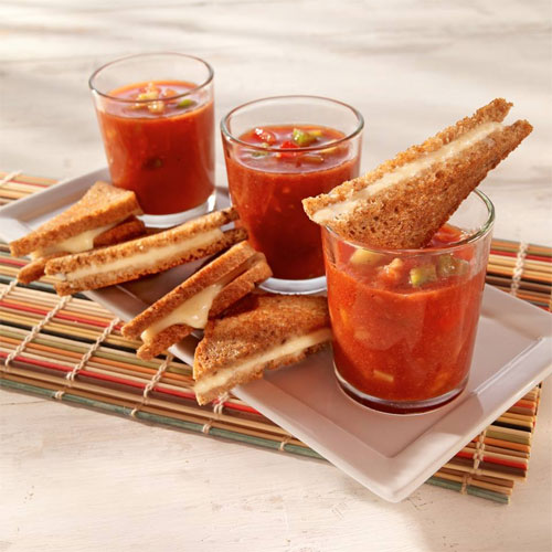 Gazpacho Shooters with Mini Grilled Cheese Sandwiches