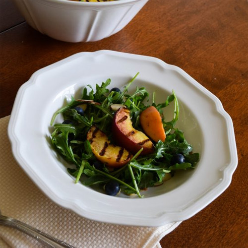 Grilled Peach Salad with Honey Poppy Seed Dressing