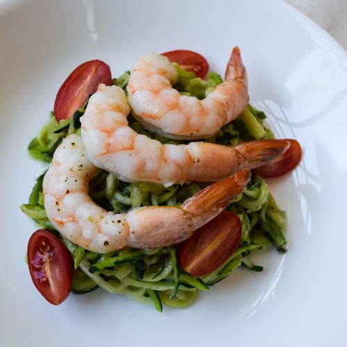 Zucchini Noodles with Avocado Pesto and Roasted Shrimp