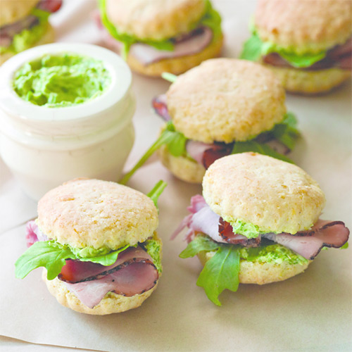 Mini Biscuits with Ham and Parsley