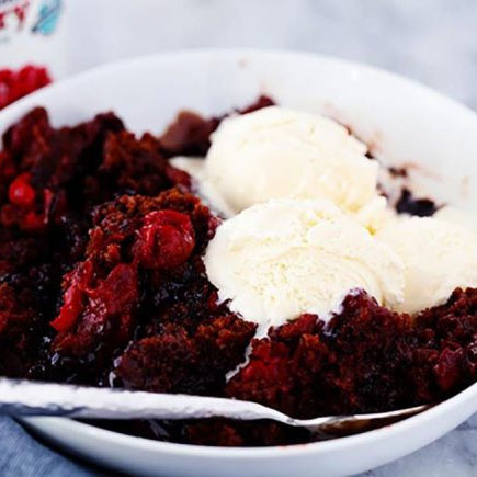 Slow Cooker Chocolate Cherry Fudge Cake