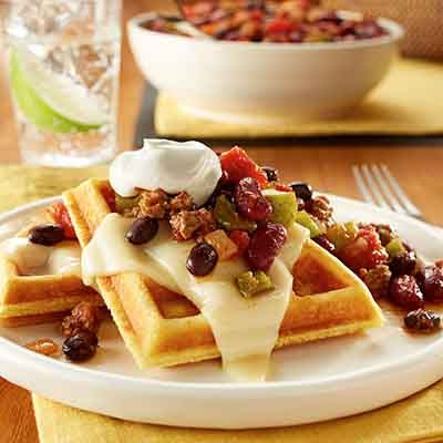 Chili with Cheesy Cornbread Waffles