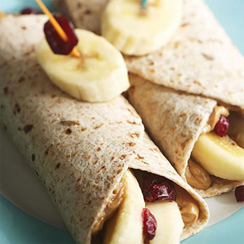 Peanut Butter, Banana and Craisins Dried Cranberry Roll-Ups