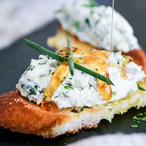 Easy Honey Herbed Goat Cheese