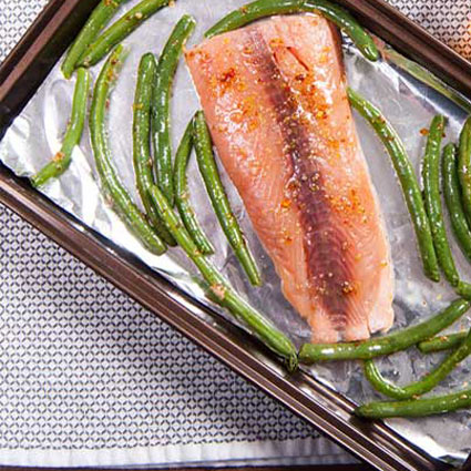 One-Pan Honey Mustard Salmon & Green Beans