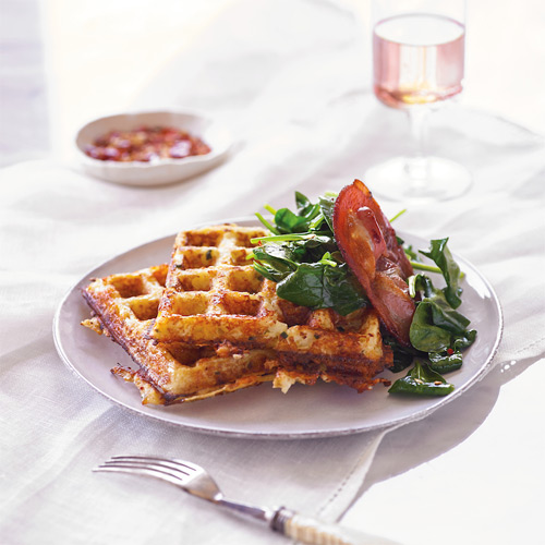 Cauliflower Waffles with Sauteed Spinach and Roasted Pancetta