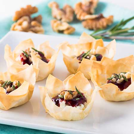 Phyllo Cups with Goat Cheese and Raspberry Spread