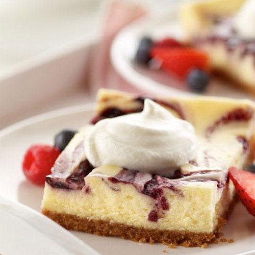 Berry Marbled Summer Cheesecake Dessert