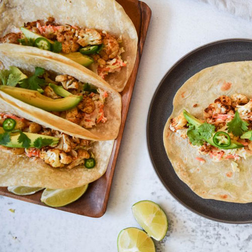 Cauliflower Tacos with Spicy Slaw