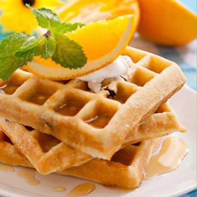 Orange Waffles with Fresh Tropical Fruit Salsa
