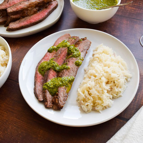 Flank Steak with Chimichurri and Red Onion Rice