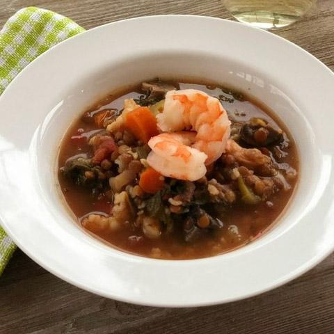 Lentil, Shrimp and Rice Soup
