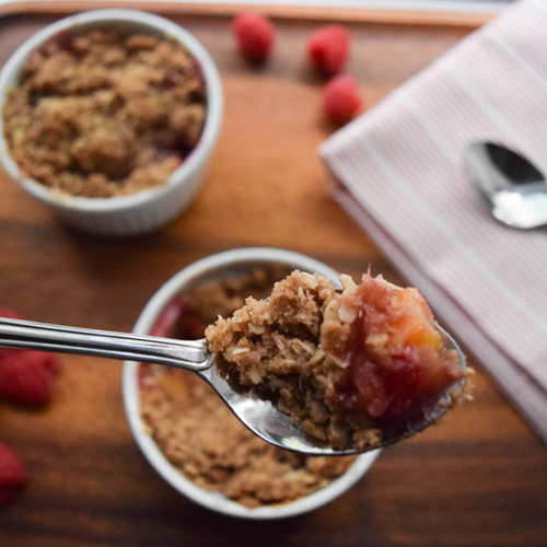 From the Farmer Owned Kitchen: Peach & Raspberry Crumble