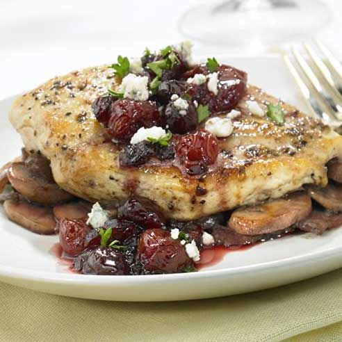 Pan Seared Chicken Breasts with Cran-Cherry Sauce