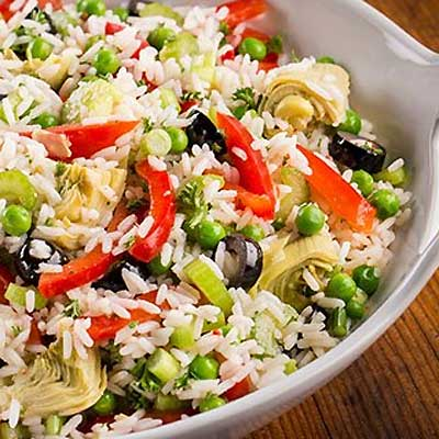 Italian Rice Salad with artichokes, bell pepper, and olives
