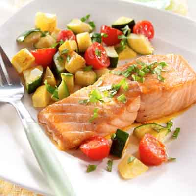 Salmon & Summer Squash with Basil