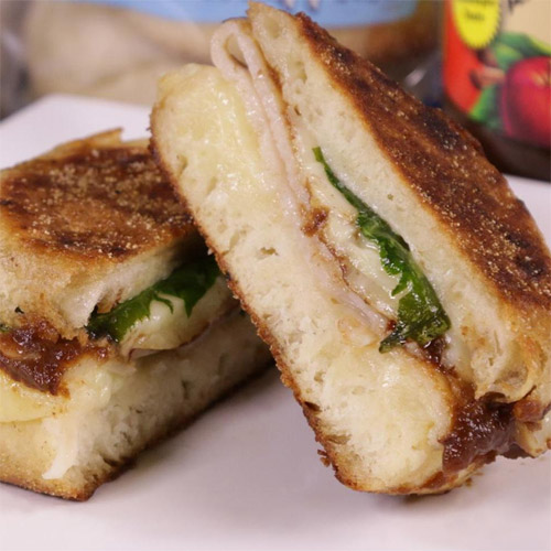 Turkey & Spinach Grilled Cheese with Apple Butter on English Muffin