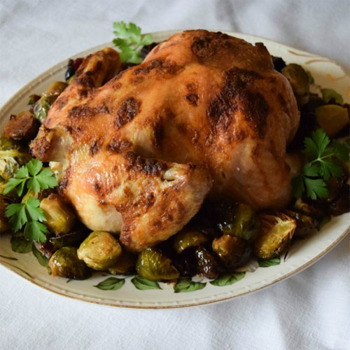 Mustard Roasted Chicken with Brussels Sprouts and Cranberries
