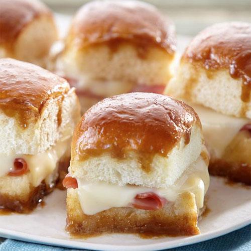 Glazed Ham & Cheese Party Sandwiches