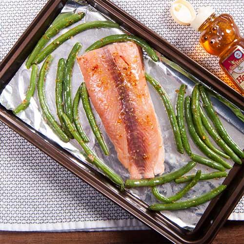 One-Pan Honey Mustard Salmon & Green Beans