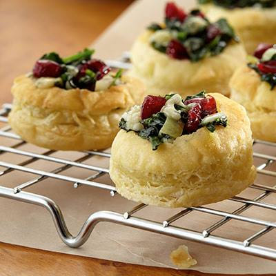 Cranberry Spinach Blue Cheese Puffs