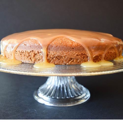 Applesauce Almond Cake with Apple Caramel